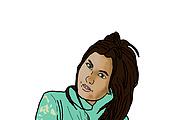 Write potrait in cartoon style, pop art, in the style of GTA 12 - kwork.com