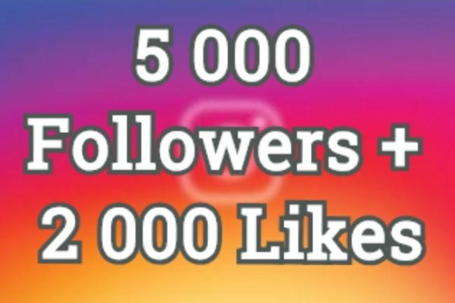5000 followers +2000 Likes 1 - kwork.com