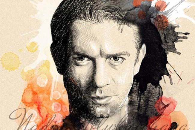 Portrait, pencil and watercolor 1 - kwork.com