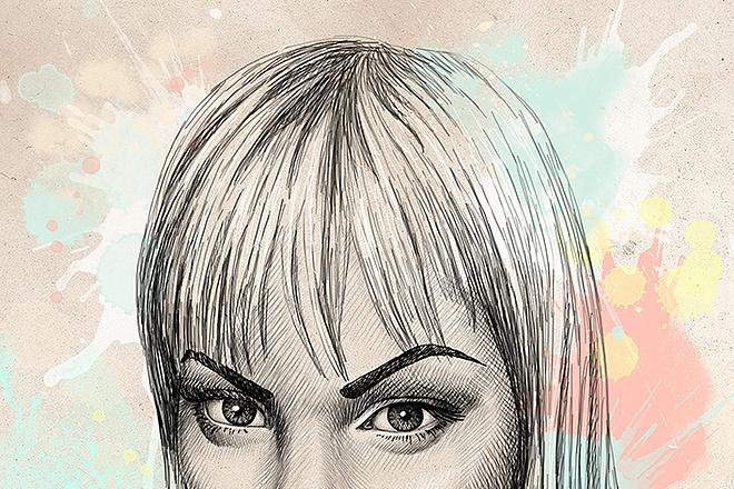 Portrait, pencil and watercolor 6 - kwork.com