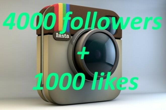 4000 followers + 1000 likes 1 - kwork.com