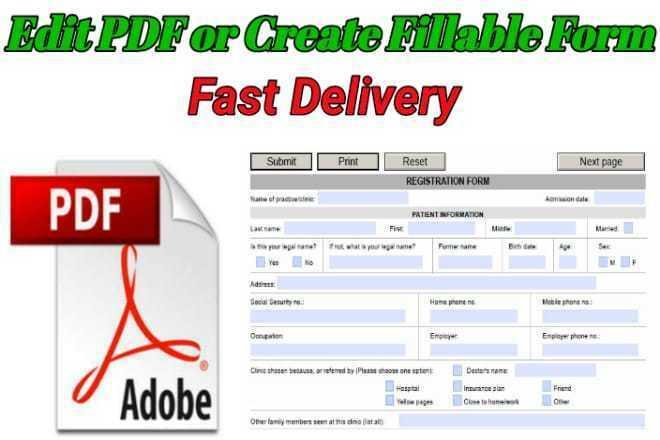 Create PDF fillable form or Edit PDF 1 - kwork.com