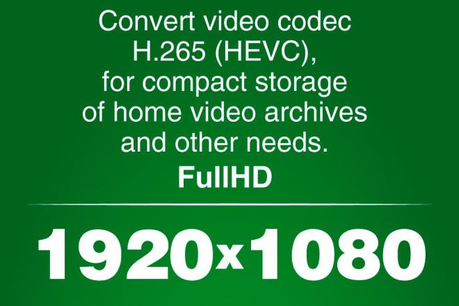 Convert FullHD video to H. 265 format 4 - kwork.com