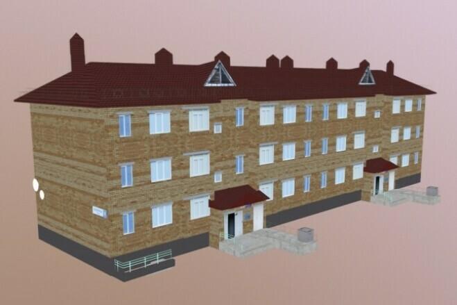 3D modeling of low poly buildings 1 - kwork.com