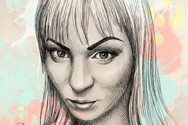 Portrait, pencil and watercolor 2 - kwork.com